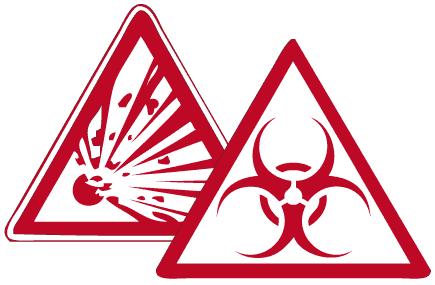 Bild von zwei dreieckigen Gefahrentafeln