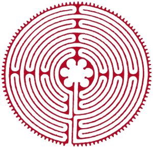 Bild eines kreisrunden Labyrinths