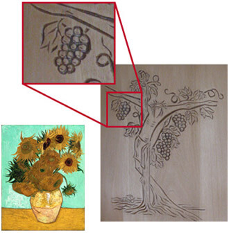 Andreas Leitners Schnitzarbeiten sowie eines Bildes von van Gogh