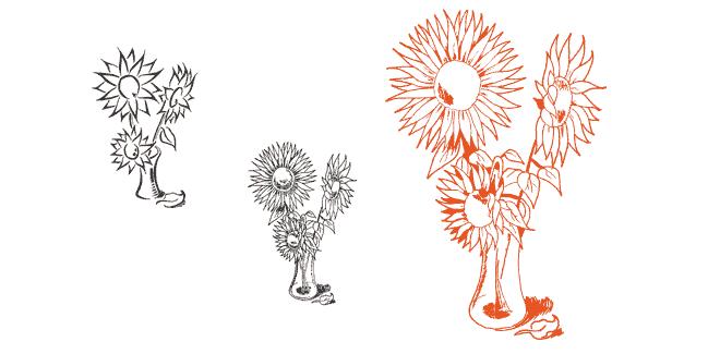 Skizzenerstellung und der fertige Entwurf des Blumenmotivs für das Logo